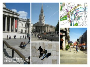 images of strategy and completed project at Trafalgar Square