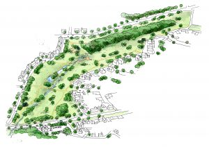 urban design and masterplanning illustration of park surrounded by new housing