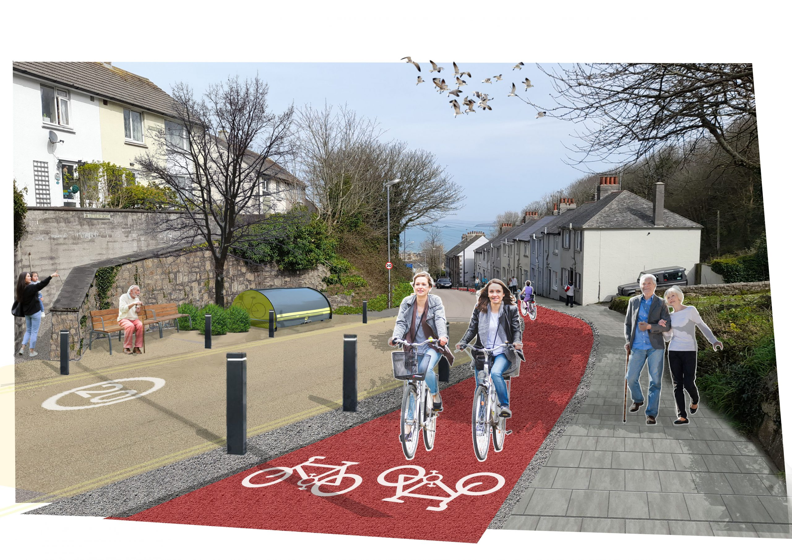 sketch view of street with a new cycle track